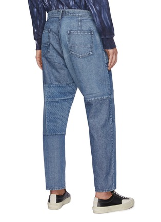 Back View - Click To Enlarge - FDMTL - Tonal Boro Patchwork Washed Straight Leg Jeans