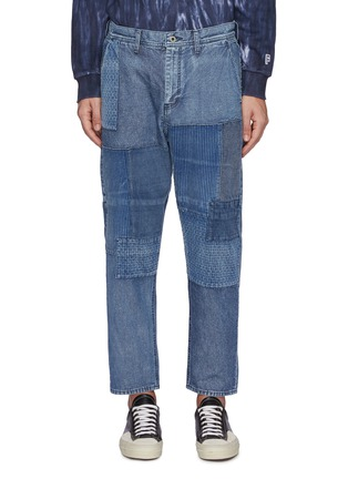 Main View - Click To Enlarge - FDMTL - Tonal Boro Patchwork Washed Straight Leg Jeans