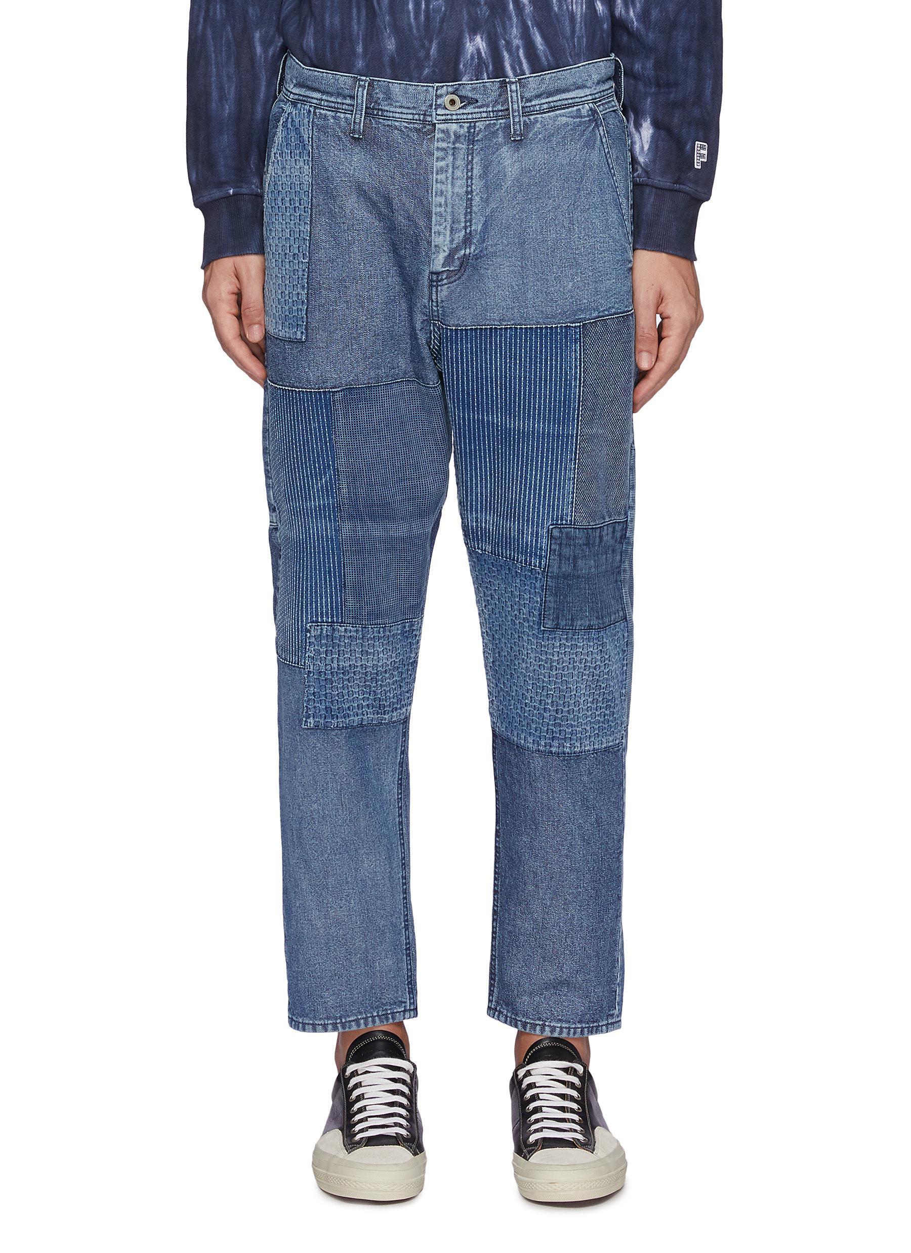 Tonal Boro Patchwork Washed Straight Leg Jeans