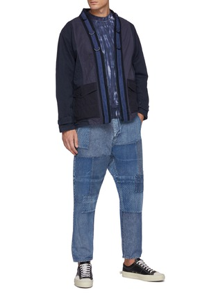 Figure View - Click To Enlarge - FDMTL - Tonal Boro Patchwork Washed Straight Leg Jeans