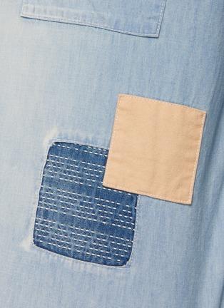 - FDMTL - Grided Stitching Patchwork Washed Denim Shirt
