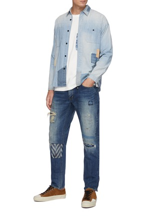 Figure View - Click To Enlarge - FDMTL - Grided Stitching Patchwork Washed Denim Shirt