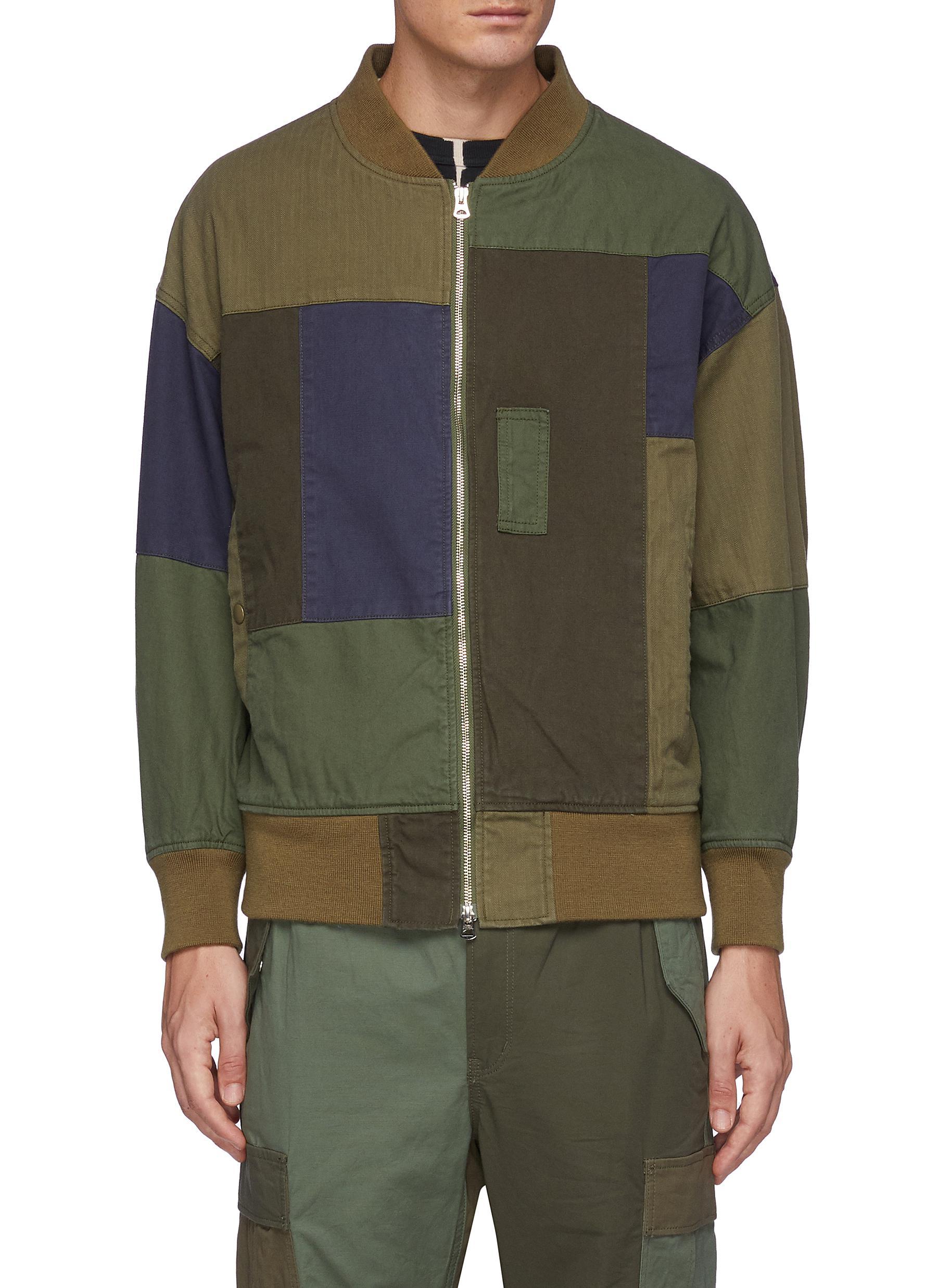Multi Coloured Patchwork Cotton Bomber Jacket