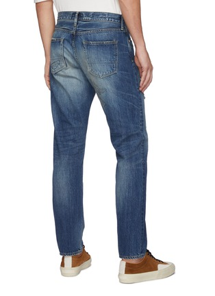 Back View - Click To Enlarge - FDMTL - Ripped And Repaired Slim Fit Washed Jeans