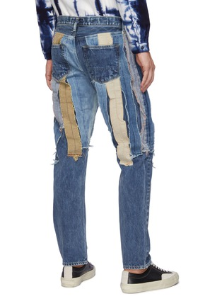 Back View - Click To Enlarge - FDMTL - Multi Coloured Raw Edged Patchwork Slim Fit Washed Jeans
