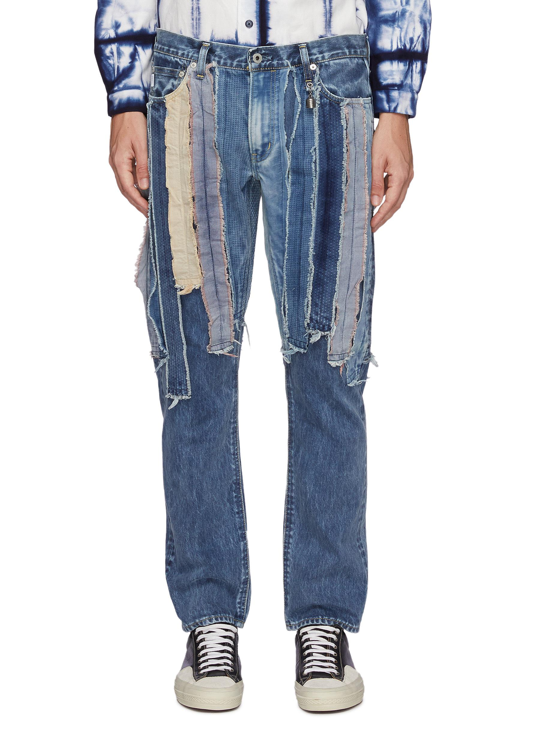 Multi Coloured Raw Edged Patchwork Slim Fit Washed Jeans