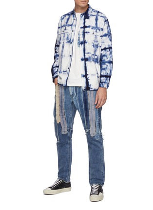 Figure View - Click To Enlarge - FDMTL - Multi Coloured Raw Edged Patchwork Slim Fit Washed Jeans