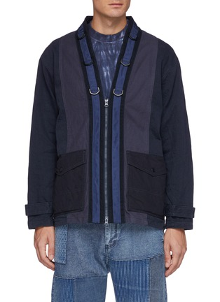 Main View - Click To Enlarge - FDMTL - Flap Pocket Zip Up Cotton Miliary Haori Jacket