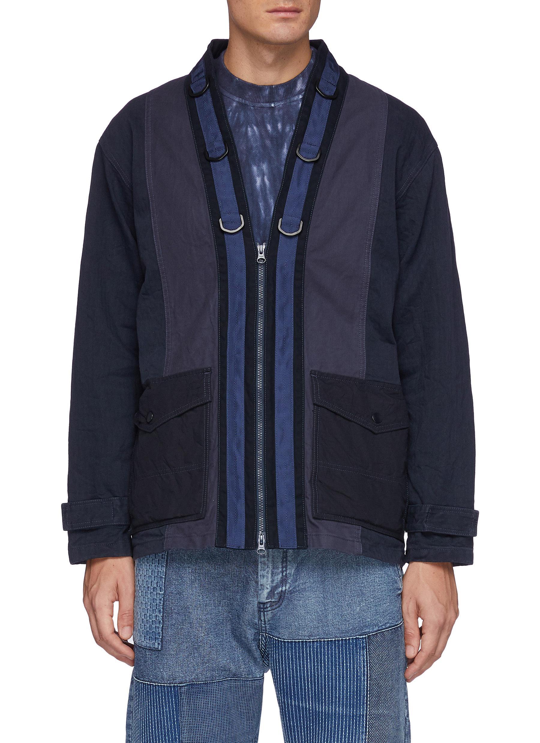 Flap Pocket Zip Up Cotton Miliary Haori Jacket