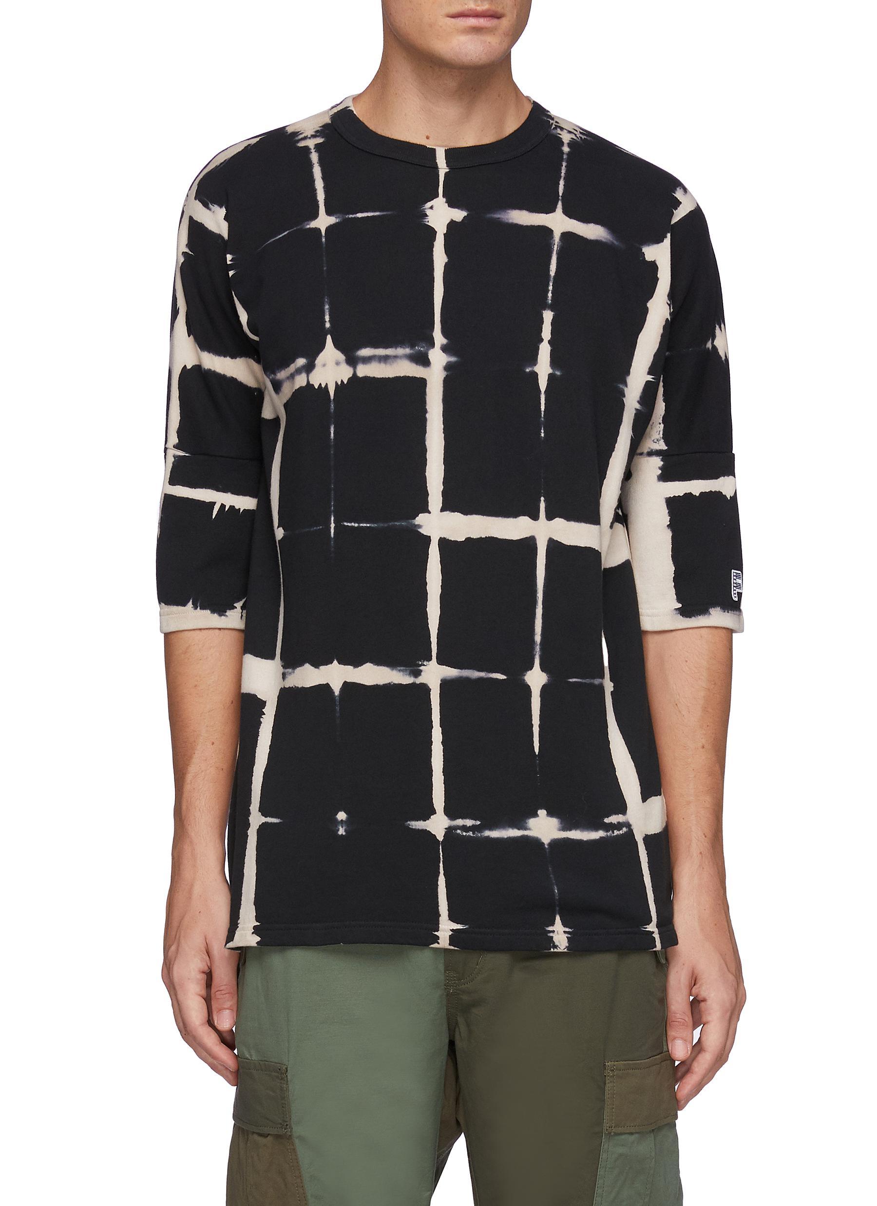 Grided Tie Dye Quarter Sleeved Cotton Oversized Crewneck T-Shirt