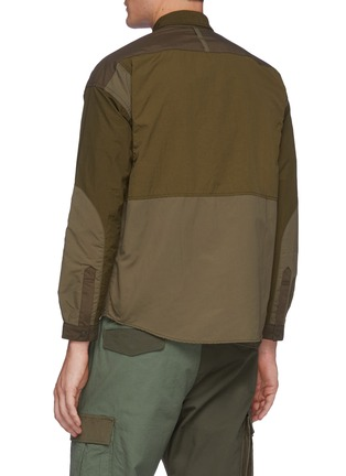 Back View - Click To Enlarge - FDMTL - Tonal Patchwork Snap Buttoned Nylon Shirt