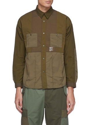 Main View - Click To Enlarge - FDMTL - Tonal Patchwork Snap Buttoned Nylon Shirt