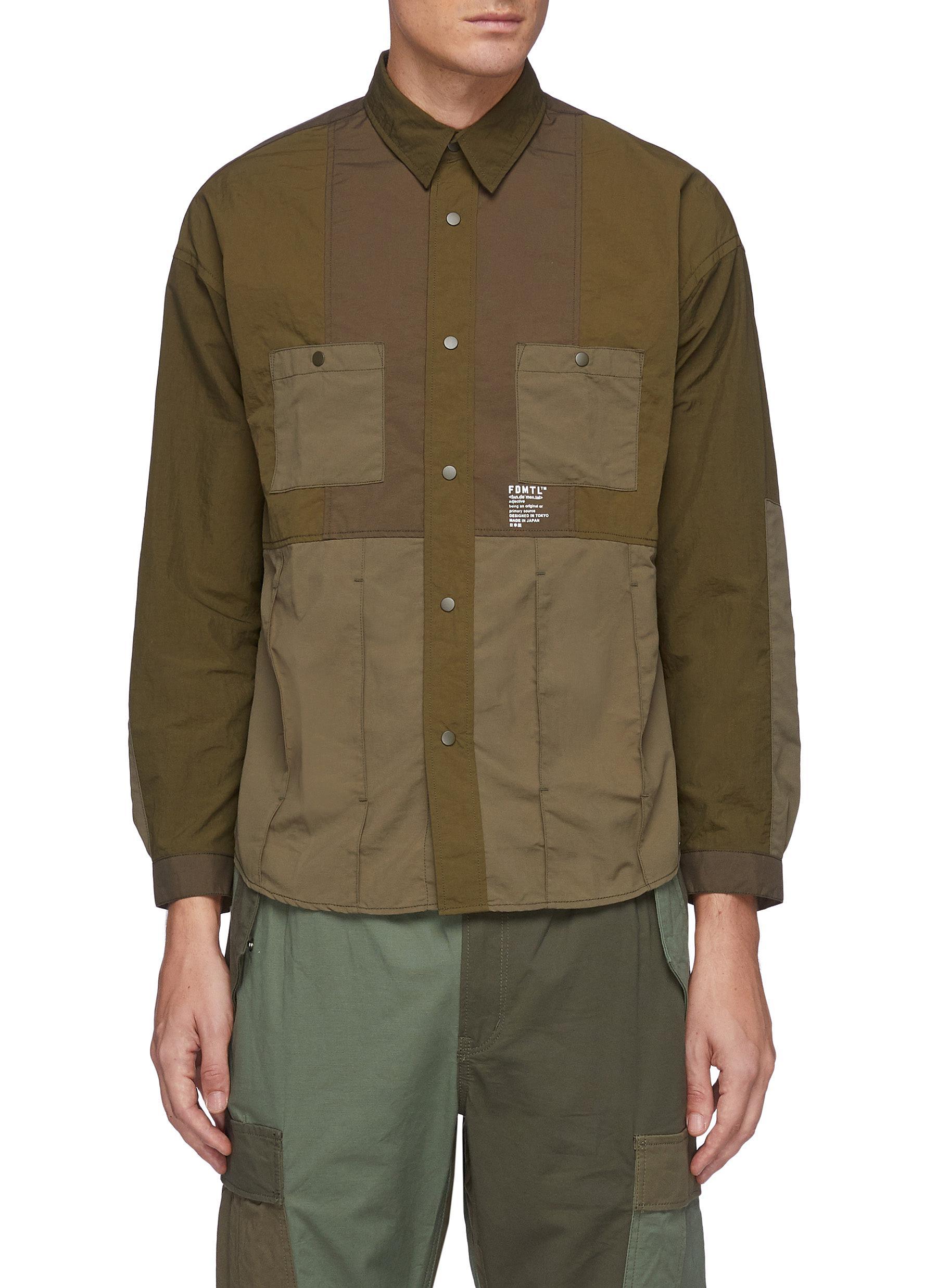Tonal Patchwork Snap Buttoned Nylon Shirt
