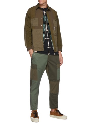 Figure View - Click To Enlarge - FDMTL - Tonal Patchwork Snap Buttoned Nylon Shirt