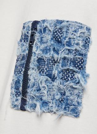 - FDMTL - Patchwork Appliqued Chest Pocket Quarter Sleeved Cotton Crewneck T-Shirt