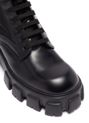 Detail View - Click To Enlarge - PRADA - 'Monolith' pocket platform leather boots