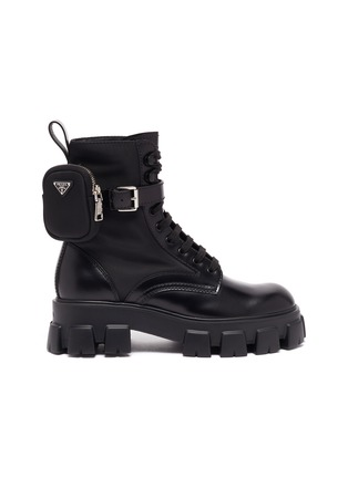 Main View - Click To Enlarge - PRADA - 'Monolith' pocket platform leather boots