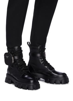 Figure View - Click To Enlarge - PRADA - 'Monolith' pocket platform leather boots