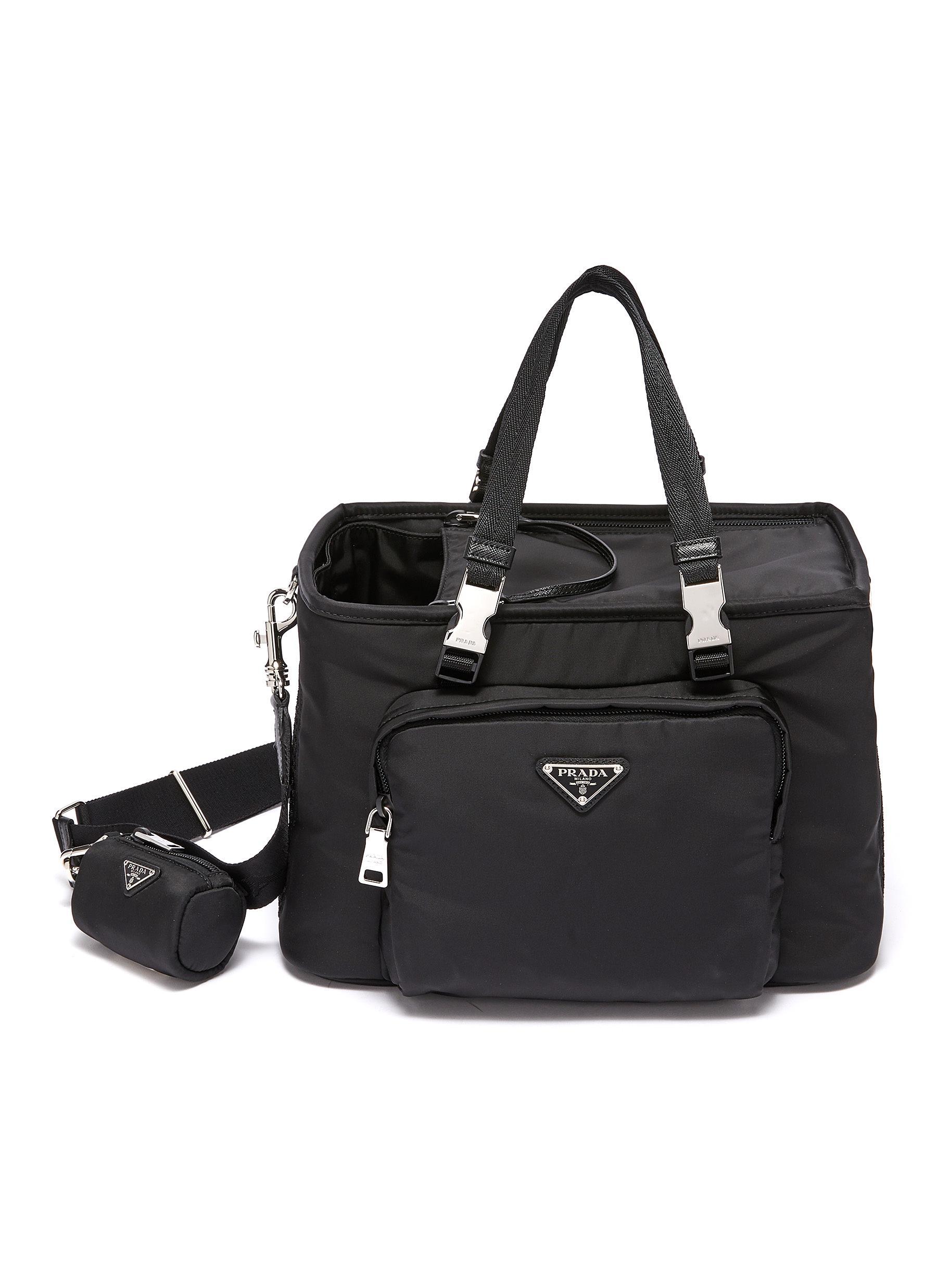 PRADA Re-Nylon Saffiano leather pet tote bag