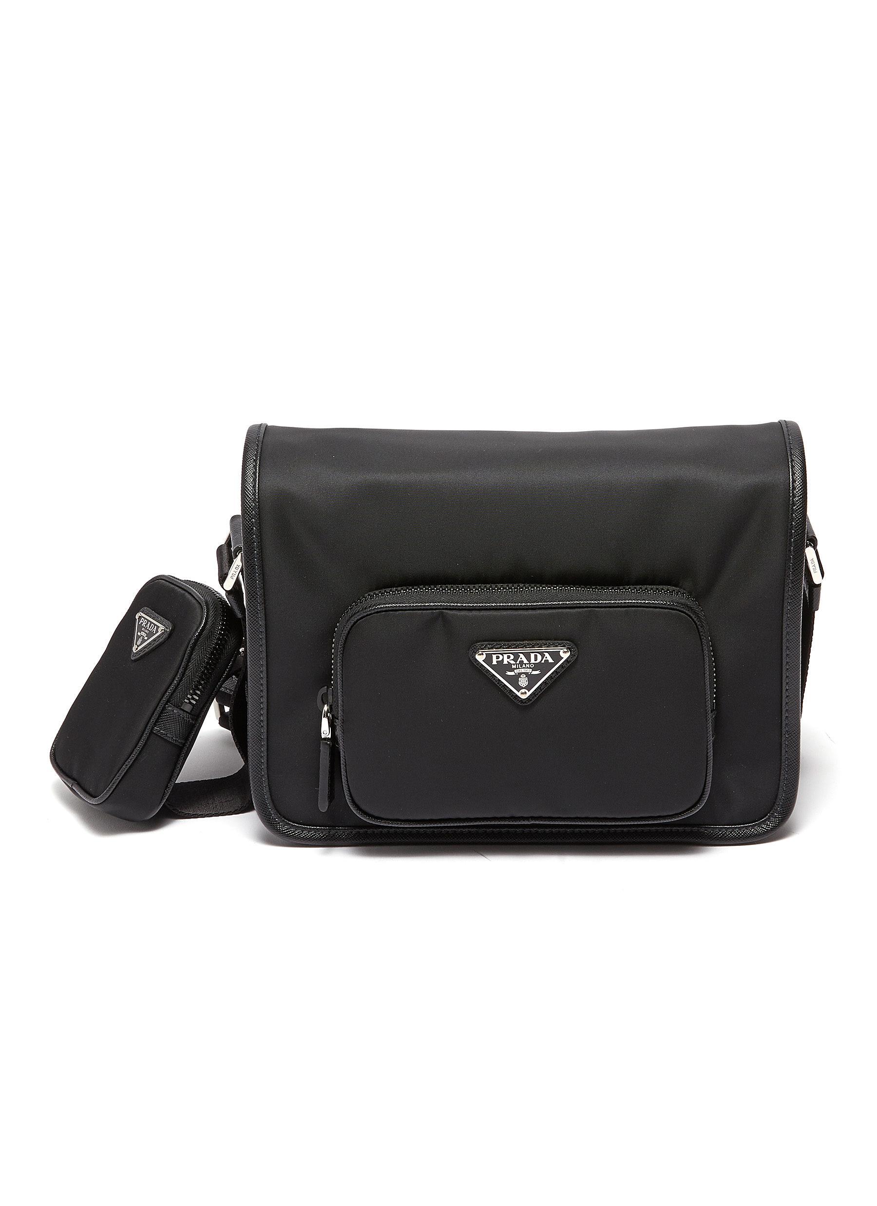 PRADA Saffiano Leather Trim Nylon Messenger Bag