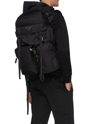 Figure View - Click To Enlarge - PRADA - Triangular Logo Plaque Re-nylon Trek Backpack