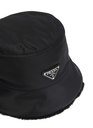 Detail View - Click To Enlarge - PRADA - Wool Trimmed Logo Plaque Nylon Bucket Hat