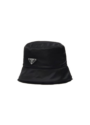 Main View - Click To Enlarge - PRADA - Wool Trimmed Logo Plaque Nylon Bucket Hat