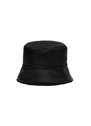 Figure View - Click To Enlarge - PRADA - Wool Trimmed Logo Plaque Nylon Bucket Hat