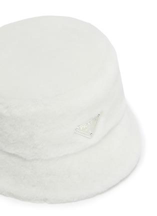 Detail View - Click To Enlarge - PRADA - Logo Plaque Sheep Wool Bucket Hat