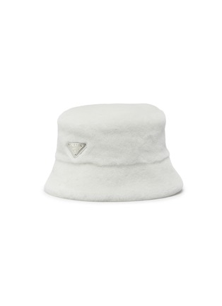 Main View - Click To Enlarge - PRADA - Logo Plaque Sheep Wool Bucket Hat