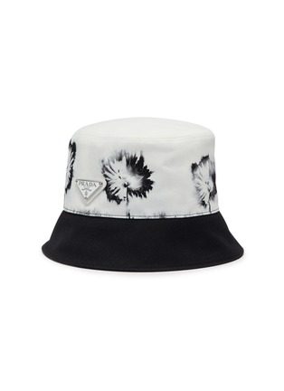 Main View - Click To Enlarge - PRADA - Re-Nylon Cotton Drill Tie Dye Floral Print Bucket Hat