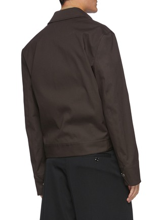 Back View - Click To Enlarge - BOTTEGA VENETA - Concealed zip stretch cotton shirt jacket