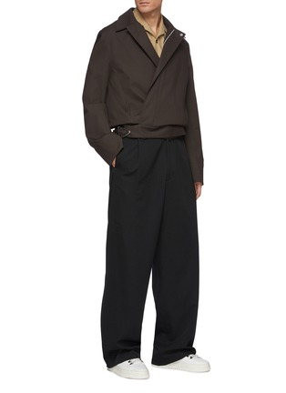 Figure View - Click To Enlarge - BOTTEGA VENETA - Concealed zip stretch cotton shirt jacket