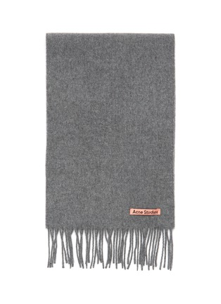 Detail View - Click To Enlarge - ACNE STUDIOS - Logo Patch Wool Fringe Scarf