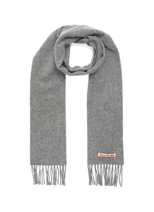 Main View - Click To Enlarge - ACNE STUDIOS - Logo Patch Wool Fringe Scarf