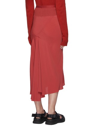 Back View - Click To Enlarge - RICK OWENS - Asymmetric Ruffled Hem Cocoon Crepe Midi Skirt