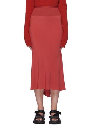 Main View - Click To Enlarge - RICK OWENS - Asymmetric Ruffled Hem Cocoon Crepe Midi Skirt