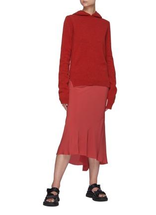 Figure View - Click To Enlarge - RICK OWENS - Asymmetric Ruffled Hem Cocoon Crepe Midi Skirt