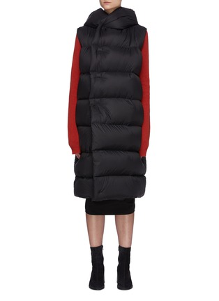 Main View - Click To Enlarge - RICK OWENS - Hooded Long Puffer Vest