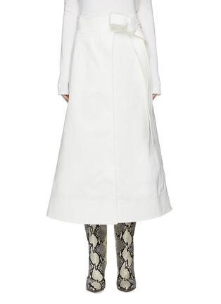 Main View - Click To Enlarge - GABRIELA HEARST -  ''Duane' stretch denim wrap belt midi skirt