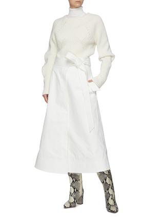 Figure View - Click To Enlarge - GABRIELA HEARST -  ''Duane' stretch denim wrap belt midi skirt