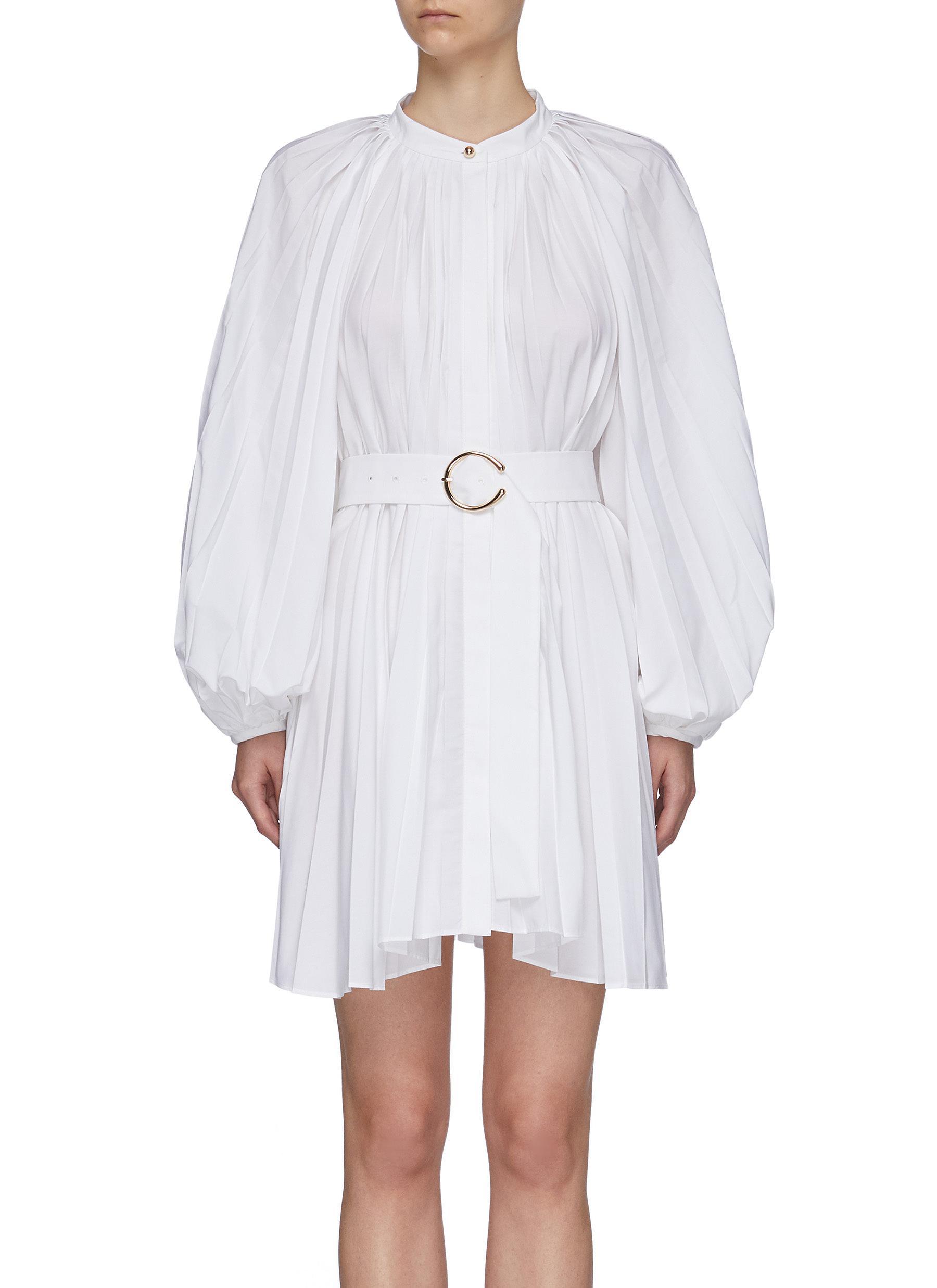 'Margot' Belted Bishop Sleeve Pleated Shirt Dress