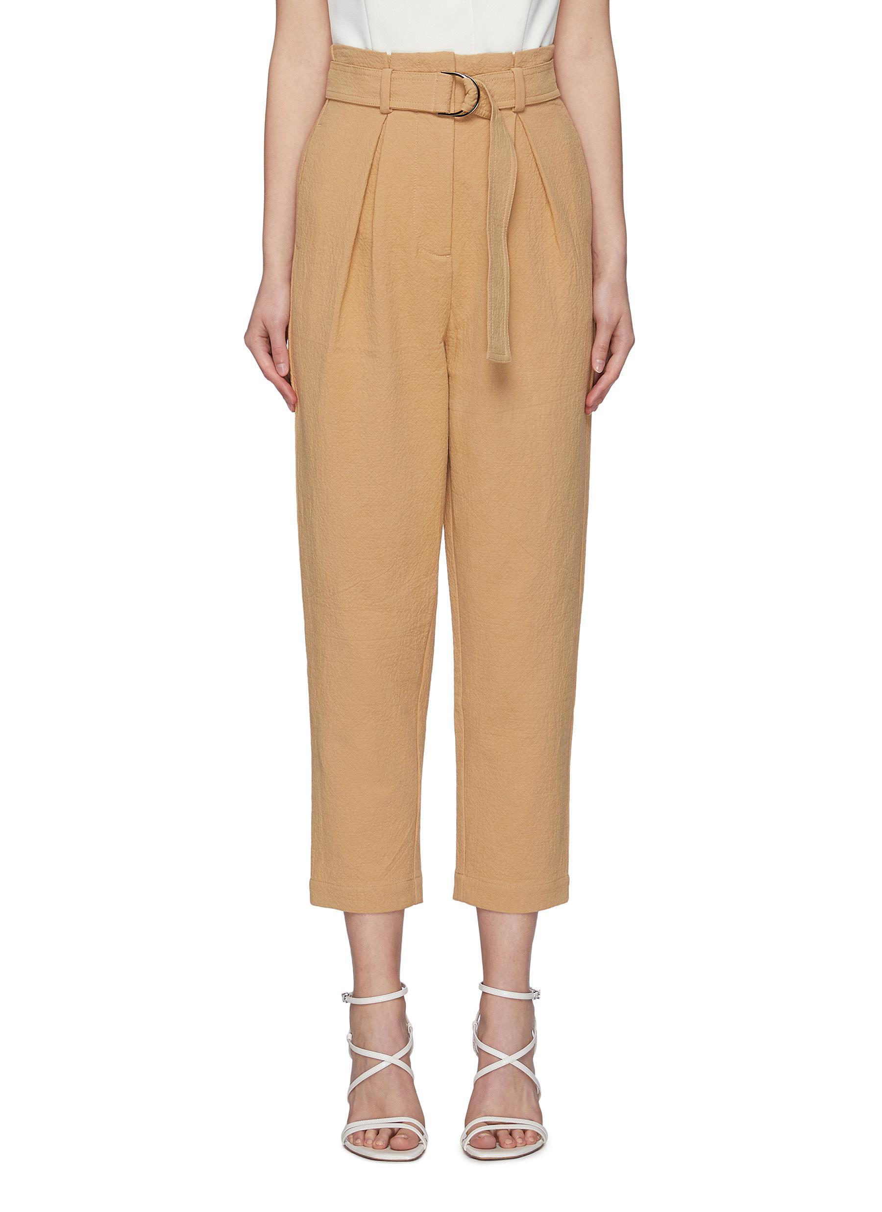 'Newton' Belted Front Pleat Crop Pants