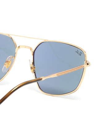 Detail View - Click To Enlarge - RAY-BAN - Tortoiseshell Effect Temple Double Bridge Metal Frame Sunglasses