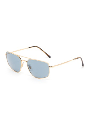 Main View - Click To Enlarge - RAY-BAN - Tortoiseshell Effect Temple Double Bridge Metal Frame Sunglasses