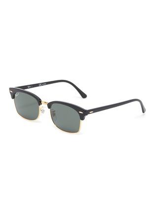 Main View - Click To Enlarge - RAY-BAN - Metal Bridge Rectangular Acetate Frame Sunglasses