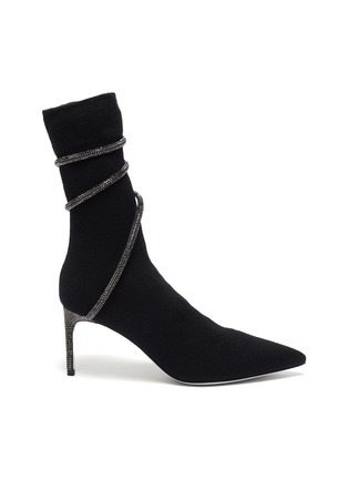 Main View - Click To Enlarge - RENÉ CAOVILLA - 'Cleo' strass coil cashmere sock booties