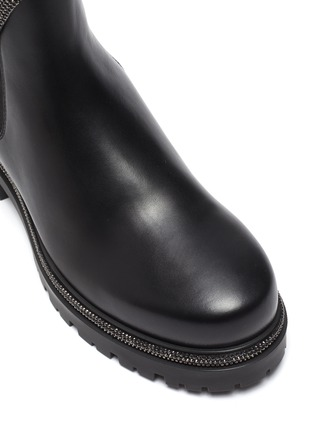 Detail View - Click To Enlarge - RENÉ CAOVILLA - 'Cleo' hematite strass coil chelsea boots