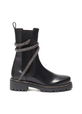 Main View - Click To Enlarge - RENÉ CAOVILLA - 'Cleo' hematite strass coil chelsea boots