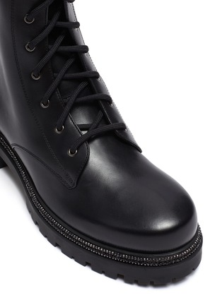 Detail View - Click To Enlarge - RENÉ CAOVILLA - Strass embellished midsole combat boots